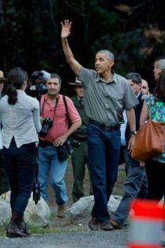 President Barack Obama waves to the crowd at Yosemite National Park