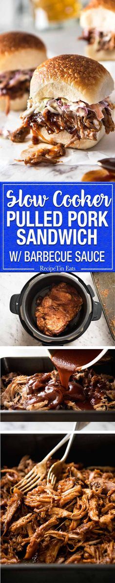 Slow Cooker BBQ Pulled Pork Sandwich - Perfectly seasoned, tender pulled pork tossed in a homemade B Crock Pot Slow Cooker, Slow Cooker Recipes, Crockpot Recipes, Cooking Recipes, Slow Cooking, Sandwiches, Pork Sandwich, Sandwich Recipes, Barbecue Sauce Recipes