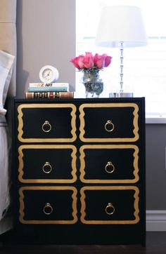 IKEA fan DIY project adds Dorothy Draper inspired look on RAST dresser on Marcus Design blog!