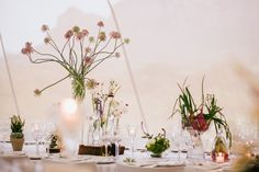 Jamess and Josi's Botanical-themed wedding. Veggies under bell-jars, red onions spilling out of vases, mini-lettuce in sweet glass-jars and only flowers that bloom on vegetable plants, fruit trees and herbs were used