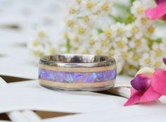 wood opal inlay | opal rings | titanium wood rings | titanium rings | opal jewelry