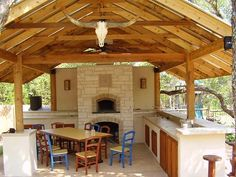 An outdoor kitchen with wood fired pizza oven.