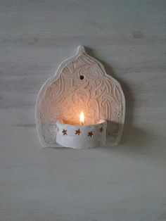 Moroccan style ceramic wall sconce, small tea light holder for bathroom or outdoor courtyard, embossed Thuluth script