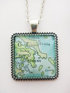Athens Greece Map Pendant Greek Antique Silver Vintage Map Greece Map, Athens Greece, Map Necklace, Dog Tag Necklace, Heavy Water, Large Envelope, Small Gift Bags, Water Activities, Clear Glass