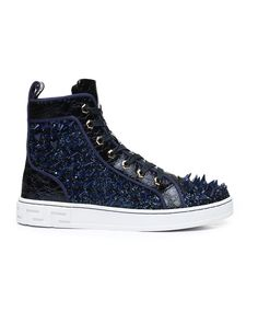 Buy Spiked Metallic High Top Sneakers Men's Footwear from AURELIO GARCIA. Find AURELIO GARCIA fashion & more at DrJays.com Pink Dolphin, Diamond Supply Co, Sweater Boots, Famous Stars, Men's Footwear, Spring Trends, Dad Hats, Girls Shopping, High Tops