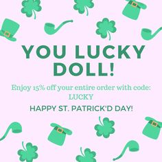 Happy St. Patrick's Day my loves! Enjoy 15% off all orders today with code: LUCKY    Free US shipping on all orders over $35  Only today!   #vintagestyle #bffbodyproducts #besties #handmade #stpatricksday #dolls #sugarscrub #stpatricksdaysale #sale #ordernow