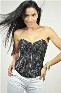 Black silver corset
