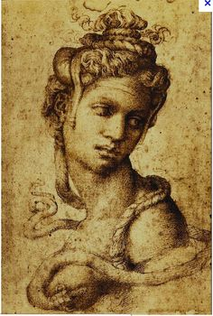 Michelangelo Buonarotti, Cleopatra :: one of the few authenticated drawings of Michelangelo and was drawn for Tommaso de' Cavalieri, a young artist that Michelangelo passionately loved.