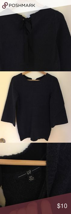Gap navy blue sweater Size xs, cute tie design on back of neck. In good condition. GAP Sweaters Crew & Scoop Necks