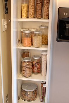 I'm jealous of people's orginization, for the kitchen must have clear jars