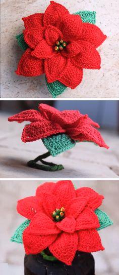 Crochet Poinsettia Christmas Flower