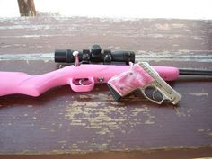 I love my pink guns . A 22 rifle and my 22 hand gun. Yes, I do live in TEXAS !!!