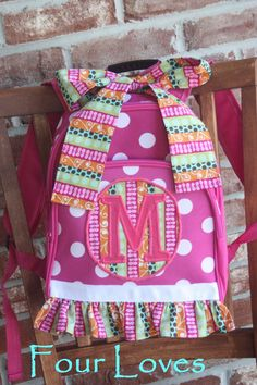 I bought these for my girls  they are adorable! Personalized Girls Backpackpink polka dot backpack by FourLoves, $25.00