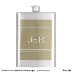 Golden Color Personalized Monogram Initials Drink Flask Father Of The Bride, Golden Color, Artwork Design, Monogram Initials, Hand Washing, Soap Dispenser, Light Colors, Flask, Personalized Gifts