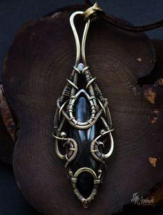 Obsidian brass wire pendant