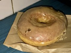"A photo of a chestnut glazed donut at Doughnut Vault in Chicago, Illinois. Learn more about this tiny ""hole"" in the wall donut shop by reading the FoodWaterShoes article, ""They're Coming to Take Me Away, Ha Ha! – Doughnut Vault in Chicago, Illinois"" - Food Foodie Foodies FoodPorn Snacks Food Shop Eat Restaurants Local Eats Eating Fried Food Breakfast Brekkie Brunch"