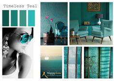 Teal: de kleur van 2014: een veelzijdige tint die het goed doet in verschillende soorten kleurencombinaties. Prachtig zodra ton-sur-ton gebruikt met andere tinten turquoise, groen of blauw. In combinatie met indigo, denim of marineblauw krijg je het diepzee-effect: fris, beweeglijk, uitnodigend. Samen met groenvarianten als mint, blauwgroen of smaragd krijgt Teal juist een fris buitengevoel.  www.happy-home.nl