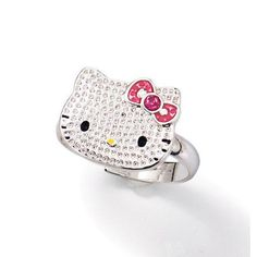 Silvertone textured Hello Kitty Ring with pink faux stones. Comes in a black Avon jewelry box with white Hello Kitty graphics sleeve.  <br><br>Hello Kitty© 1976, 2013 Sanrio Co., Ltd. Used Under License.