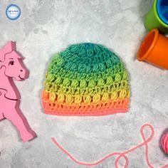Crochet Unicorn Stripes Baby Hat - Free Pattern — Left in Knots One Skein Crochet, Crochet Kids Hats, Crochet Fall, Crochet Crafts, Free Crochet, Crochet Tools, Crocheted Hats, Crochet Blankets, Yarn Crafts