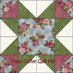 Sohpy's Burgundy Red Pink Blue Roses Floral Fabric Easy Pre-Cut Quilt Blocks Top Kit Border