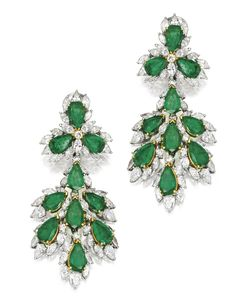 PAIR OF PLATINUM, EMERALD AND DIAMOND PENDANT-EARRINGS. Of chandelier design, set with 20 pear-shaped emeralds weighing approximately 23.50 carats, accented by numerous pear and marquise-shaped diamonds weighing approximately 14.50 carats, pendants detachable.