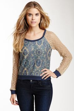 Flying Tomato Lace Mix Long Sleeve Top//