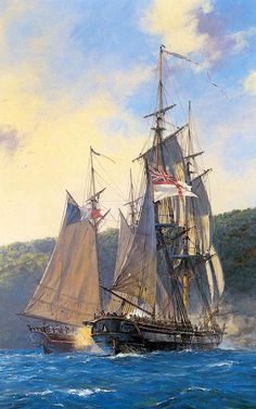 Geoff Hunt - HMS Brig Triton in action with privateer. Bateau Pirate, Old Sailing Ships, Ship Of The Line, Ship Paintings, Man Of War, Wooden Ship, Nautical Art, Navy Ships, Ship Art
