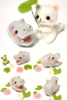 Needle felted felt felting cat kitty neko hippo hippopotamus frog froggy kawaii