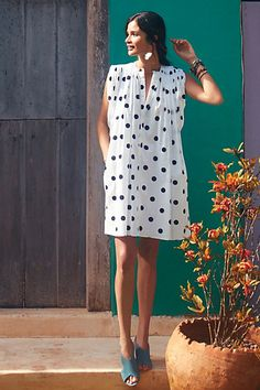 Dotted Chambray Shift #anthropologie