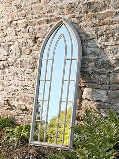 NEW Folly Outdoor Mirror - Garden Mirrors - Mirrors Window Pane Frame, Arched Window Mirror, Frame Mirrors, Garden Mirrors Uk, Outdoor Mirrors Garden, Outdoor Gardens, Jade Design, Unusual Garden Ornaments, Terracotta Plant Pots