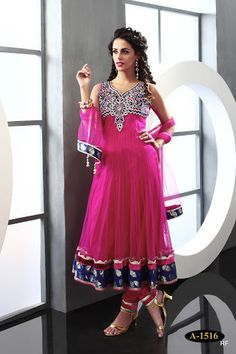 Exclusive Royal Look Pink and Biege Anarkali Churidar | Saris and Things