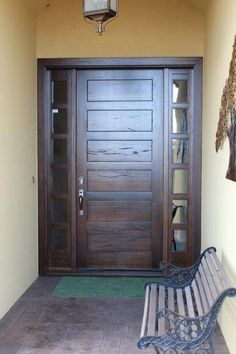 Rustic Medieval Walnut, Hand-Crafted, Custom-Woodworking Modern Entrance Door, Main Entrance Door Design, Modern Front Door, Modern Entryway, Entry Way Design, Front Door Design, Entry Doors, Grand Entrance, Barn Doors