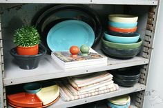 Inspiration for styling your Fiesta Dinnerware in your cabinets or shelves at www.alwaysfestive.com.