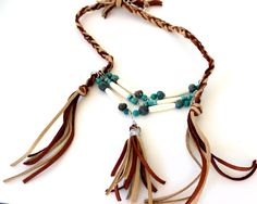 Turquoise Breastplate Necklace - Chrysocolla and Buffalo Bones