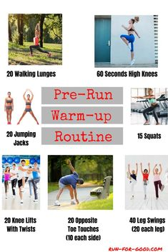 Doing some warm-up exercises before your run will improve performance and reduce injury risk. Here are warm-up exercises to include in your pre-run routine. #runningwarmup #exercisesforrunners Running Warm Up, Running Club, Kids Running, How To Start Running, Running Routine, Running Workouts, Running Tips, Workout Routines, High Knee Exercise