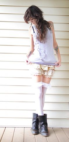 """Hand-made lace ruffle knickers with elastic waist band.  One size. Will stretch to fit up to a 32"""" low waist, 36"""" hip and 20.5"""" thigh.  Limited number available,"""