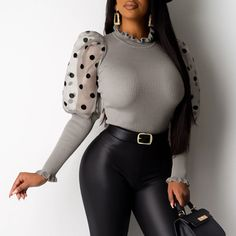 Mesh Dot Puffed Sleeve Ribbed Blouse Women's Online Shopping Offering Huge Discounts on Dresses, Lingerie , Jumpsuits , Swimwear, Tops and More. Grey Fashion, Fashion Outfits, Womens Fashion, Style Noir, Grey Blouse, Casual Sweaters, Pattern Fashion, Long Sleeve Sweater, Ideias Fashion
