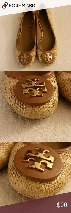 Tory Burch Leather Upper/Straw Flats Gently used. All wear is shown in pics. Overall good condition flats. Tory Burch Shoes Flats & Loafers