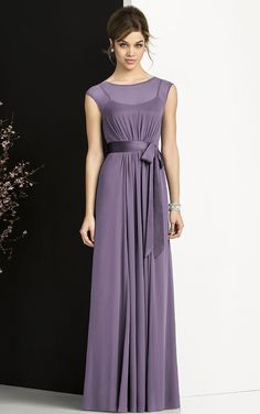 Floor-length Cap Sleeves Jewel Chiffon A-line Bridesmaid Dresses
