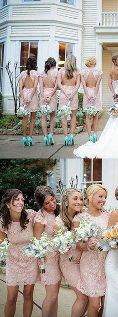 short bridesmaid dress, pink bridesmaid dress, lace bridesmaid dress, open back…