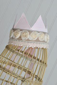 So darling!  Shabby Chic Princess Birthday Crown $30.00, via Etsy.