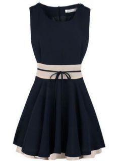 Navy Sleeveless Belt Zipper Pleated Chiffon Dress