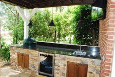 big green egg outdoor kitchen counter with cedar doors   Landscaping in Birmingham, AL