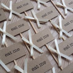 12 Cupcake Picks - Eat me - Kraft card with Ivory bows 12 Cupcakes, Cupcake Picks, Place Cards, Ivory, Place Card Holders, Bows, Eat, Unique Jewelry, Handmade Gifts