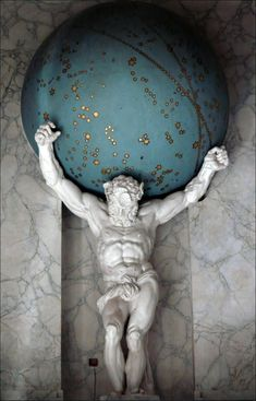 In Greek mythology the Titan Atlas was responsible for bearing the weight  of the heavens on his shoulders, a burden given to him as punishment by Zues.