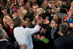 President Obama and supporters in Wisconsin