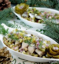 Gajewscy on wigilia Xmas Food, Polish Recipes, Fish And Seafood, Pasta Salad, Potato Salad, Food And Drink, Appetizers, Yummy Food, Lunch