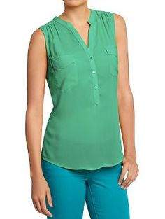 As I said before, this top has been my go to- and now they have it in mint green and mustard! Women's Lightweight Button-Front Sleeveless Tops | Old Navy