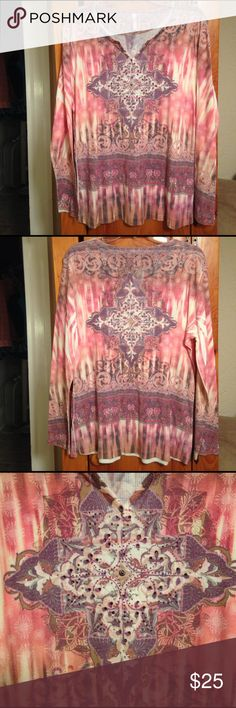 "KIARA EMBELLISHED L/S HIPPY TOP Women's XXL 2X Excellent condition beautiful flawless long sleeved top by KIARA! Size women's XXL or 2X. Chest: 22.5"" lying flat across pit to pit unstretched. Length: 27.5"". Material: 65% polyester, 35% rayon. LOTS OF STRETCH! KIARA Tops Blouses"