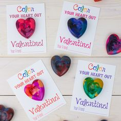 Make Heart Shaped Crayons to give as Valentines using broken crayons from around your house.